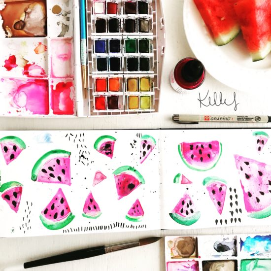 watercolor watermelon by hello my name is kelly